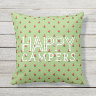 Funny Watermelon Green Polka Dots | Happy Campers Outdoor Pillow