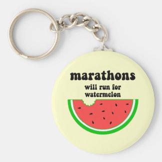 Funny watermelon marathon basic round button keychain