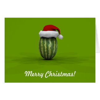 Funny Watermelon With Santa Claus Hat Card