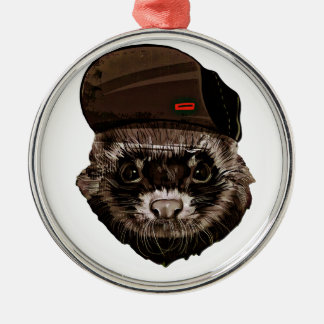 Funny Weasel with Hat Silver-Colored Round Ornament