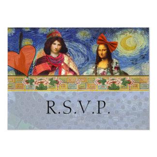 "Funny Wedding RSVP Baroque Ornate Figurative 4.5"" X 6.25"" Invitation Card"