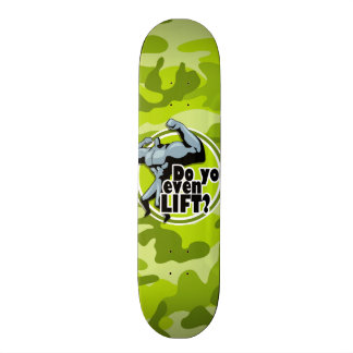 Funny Weight Lifter bright green camo camouflage Skateboard Deck