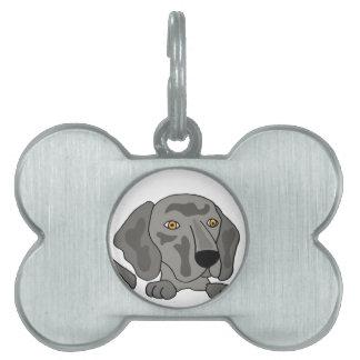 Funny Weimaraner Dog Art Pet Name Tag