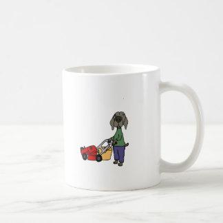 Funny Weimaraner Dog Mowing Lawn Art Coffee Mug