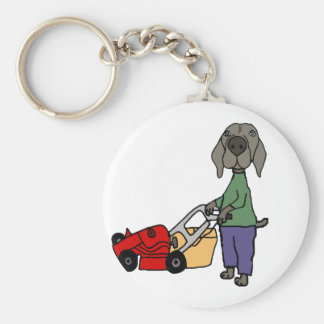 Funny Weimaraner Dog Mowing Lawn Art Keychain