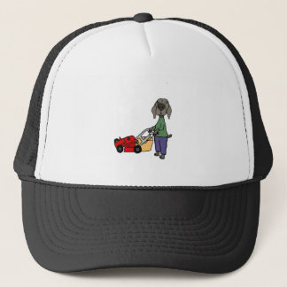 Funny Weimaraner Dog Mowing Lawn Art Trucker Hat