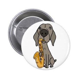 Funny Weimaraner Dog Playing Saxophone 2 Inch Round Button