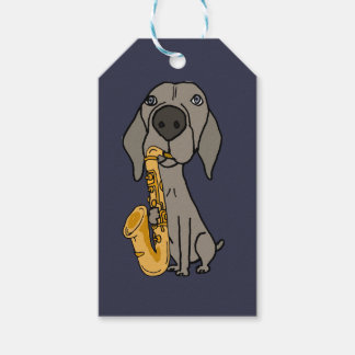 Funny Weimaraner Dog Playing Saxophone Gift Tags