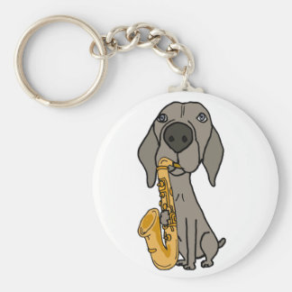Funny Weimaraner Dog Playing Saxophone Keychain