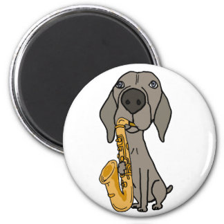 Funny Weimaraner Dog Playing Saxophone Magnet