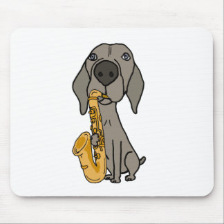 Funny Weimaraner Dog Playing Saxophone Mouse Pad