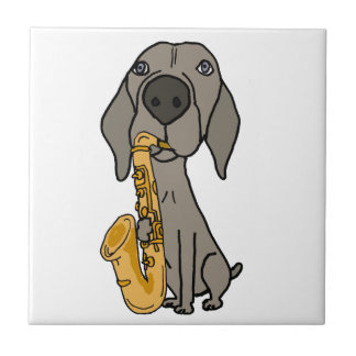 Funny Weimaraner Dog Playing Saxophone Tile