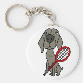 Funny Weimaraner Dog Playing Tennis Keychain