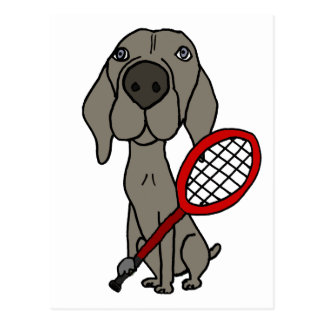 Funny Weimaraner Dog Playing Tennis Postcard