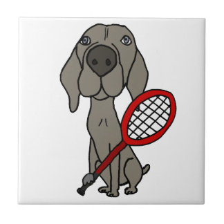 Funny Weimaraner Dog Playing Tennis Tile