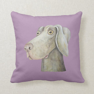 Funny weimaraner dog watercolor painting. throw pillow