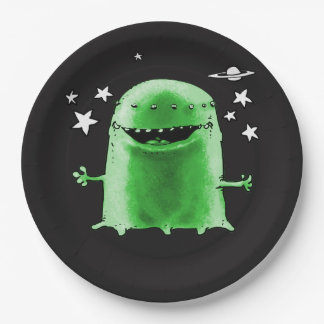 funny weird alien cartoon style illustration paper plate