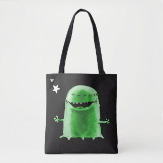 funny weird alien with stars on space cartoon tote bag
