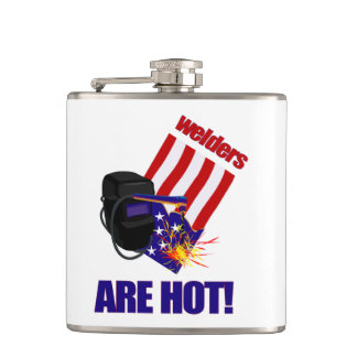 Funny Welders Are Hot Red White and Blue Hip Flask