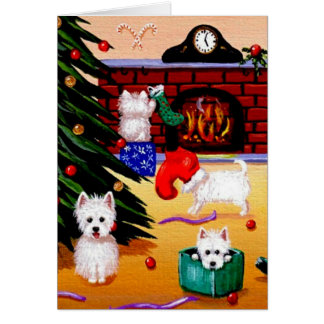Funny Westie Christian Christmas Art Creationarts Card