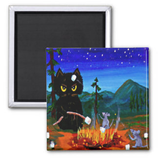Funny Whimsical Cat Mouse Camp Creationarts Square Magnet