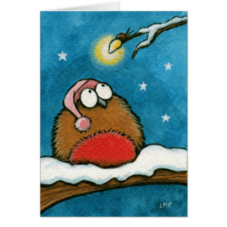 Funny Whimsical Robin and Glow-Bug Festive Card