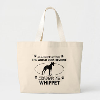 Funny whippet designs large tote bag