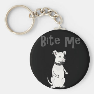 Funny White American Bulldog Bite me Cartoon Keychain
