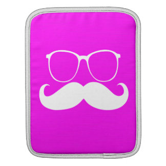 Funny  White Mustache Glasses on Pink Background Sleeves For iPads