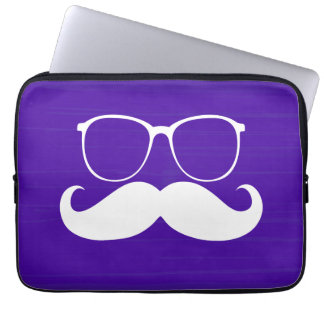 Funny White Mustache Glasses on Purple Background Laptop Sleeve