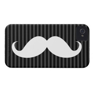 Funny white mustache on black gray striped pattern Case-Mate iPhone 4 case