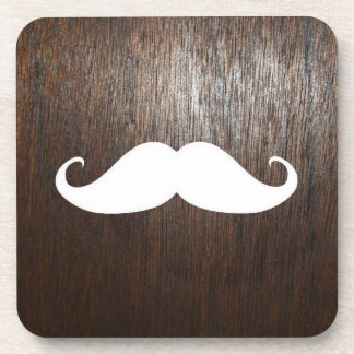 Funny White Mustache on oak wood background Coaster
