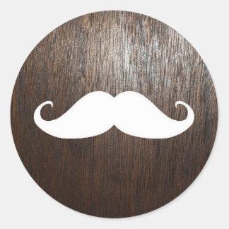 Funny White Mustache on oak wood background Round Sticker