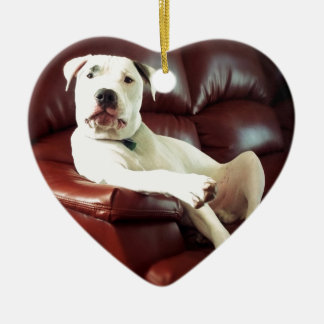 funny white pit bull dog on the couch ceramic ornament
