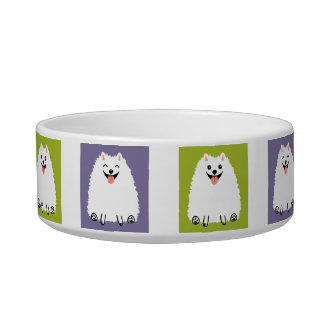Funny White Pomeranian Cartoon Dog Cat Food Bowls