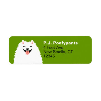 Funny White Pomeranian Cartoon Dog Return Address Label
