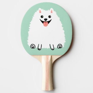 Funny White Pomeranian Ping Pong Paddle