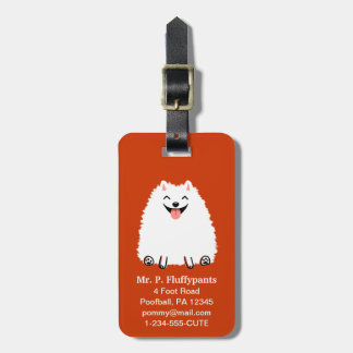 Funny White Pomeranian with Customizable Text Tag For Bags