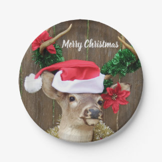 Funny Whitetail Buck Deer Christmas Paper Plate