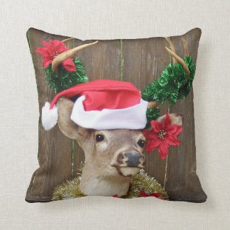 Funny Whitetail Buck Deer Christmas Throw Pillow