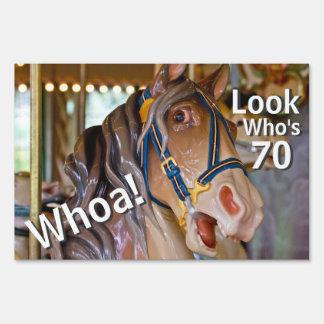 Funny Whoa! Look Who's 70 Carousel Horse Birthday