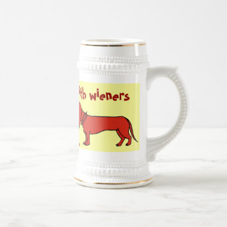 Funny wiener dog beer mug design