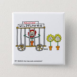 Funny Wildflowers Cartoon Button