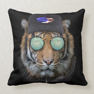 Funny wildlife dressed up Bengal Tiger Throw Pillow