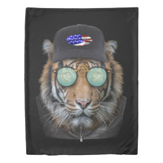 Funny wildlife dressed up Funny Bengal Tiger Duvet Cover