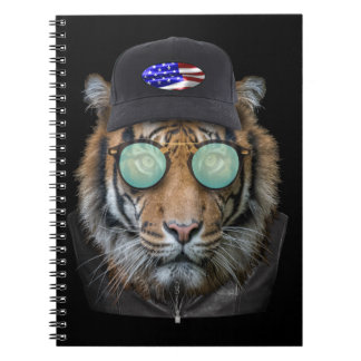 Funny wildlife dressed up Funny Bengal Tiger Notebook