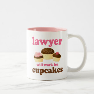 Funny Will Work for Cupcakes Lawyer Two-Tone Coffee Mug