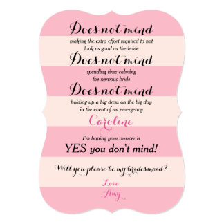 "Funny Will You Be My Bridesmaid Rose and Blush 5"" X 7"" Invitation Card"