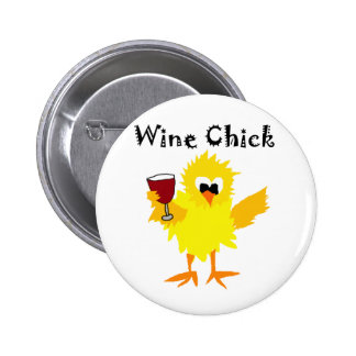 Funny Wine Chick Cartoon 2 Inch Round Button
