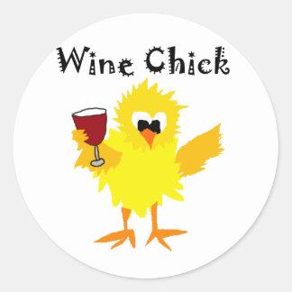 Funny Wine Chick Cartoon Round Sticker